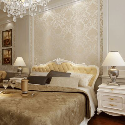 10mx53cm Vintage Roll Beige White Blue Gold Wall Paper Non-woven Floral Damask Wallpaper Living ...