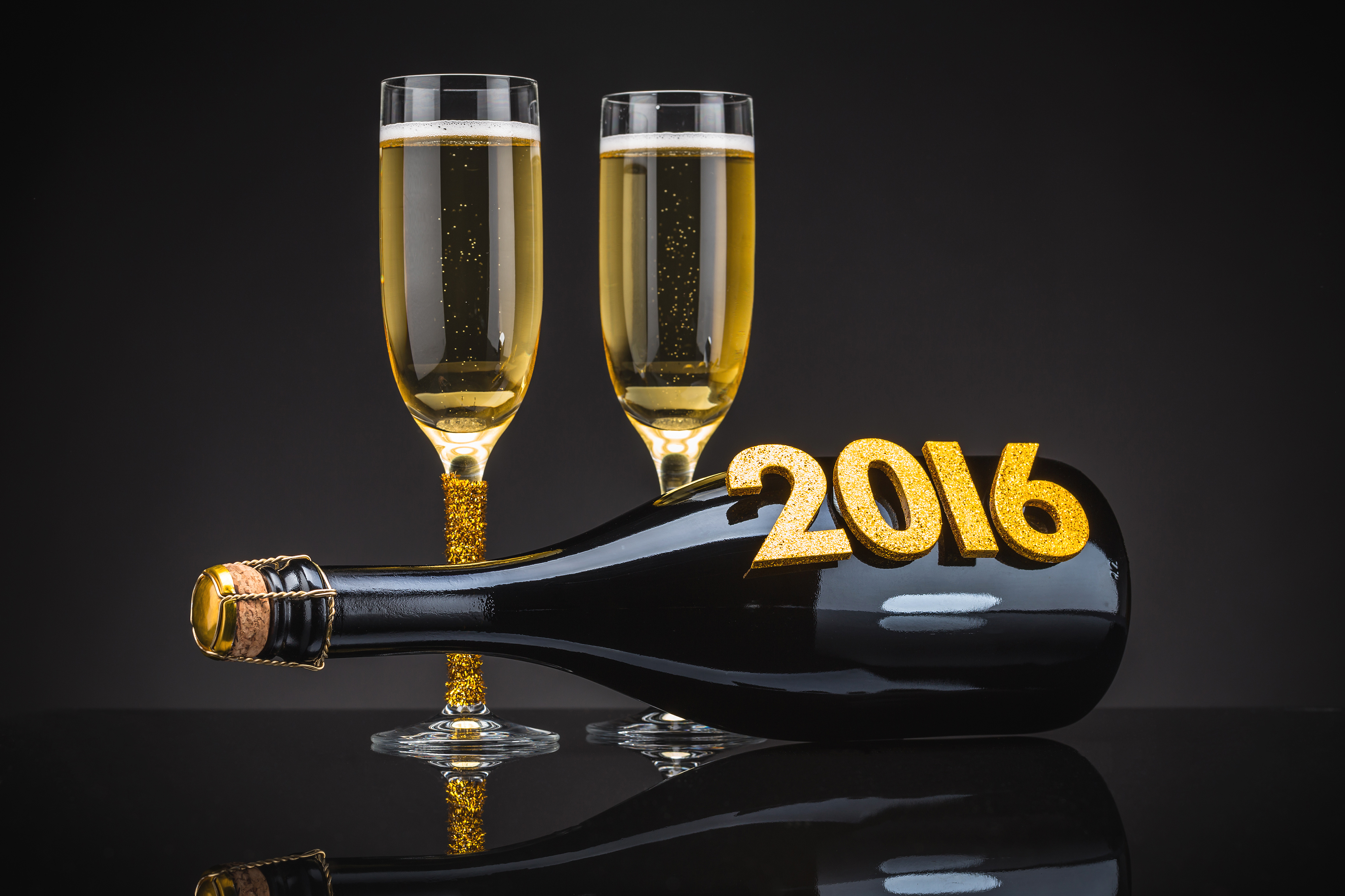 2016 Happy New Year with Champagne Background | Gallery Yopriceville - High-Quality Images and ...