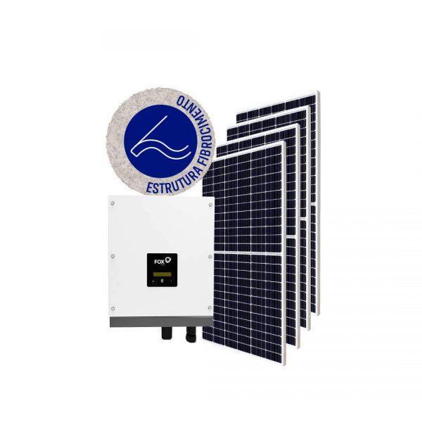 Inversor solar fotovoltaico FoxESS Modulo fotovoltaico FoxESS Stringbox Clamper Estrutura Solar Group Fibrocimento