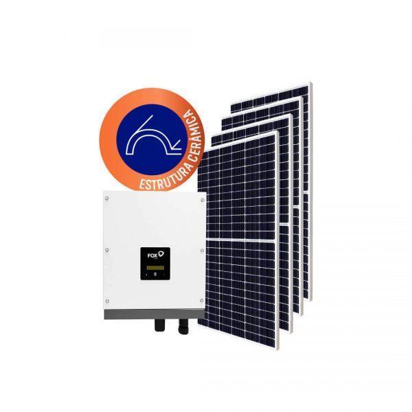 Inversor solar fotovoltaico FoxESS Modulo fotovoltaico SUNOVA Stringbox Clamper Estrutura Solar Group Cerâmica