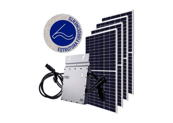 Micro Inversor solar fotovoltaico Hoymiles DTU Hoymiles Modulo fotovoltaico SUNOVA Estrutura OlgaColor Fibrocimento