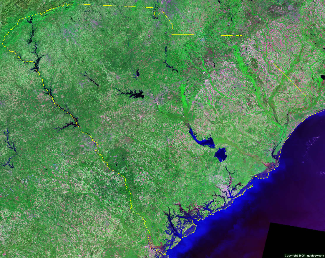South Carolina Satellite Images   Landsat Color Image South Carolina satellite photo