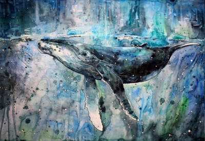 Wallpaper : 3129x2163 px, animals, artwork, paint splatter, painting, watercolor, whale ...