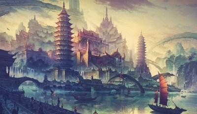 Wallpaper : temple, landscape, painting, illustration, sky, Tourism, world, mythology ...