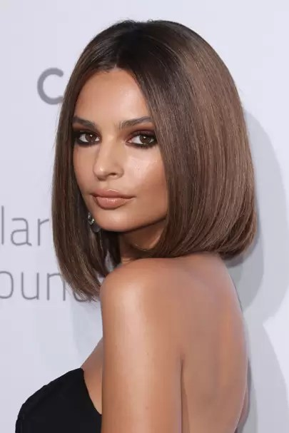 Lindsay Lohan short hair   new bob hairstyle on Sick Note   Glamour UK Woah   we re totally here for Em Rata s new short  sleek bob cut  She could  pull off just about any style