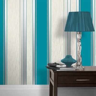 Vymura Synergy Glitter Stripe Wallpaper - Teal - Go Decorating