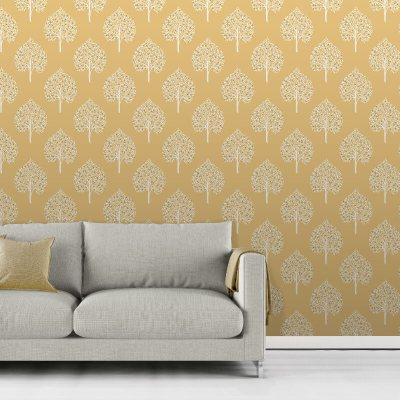 Fine Decor Annabelle Tree Yellow Wallpaper - Vibrant Yellows