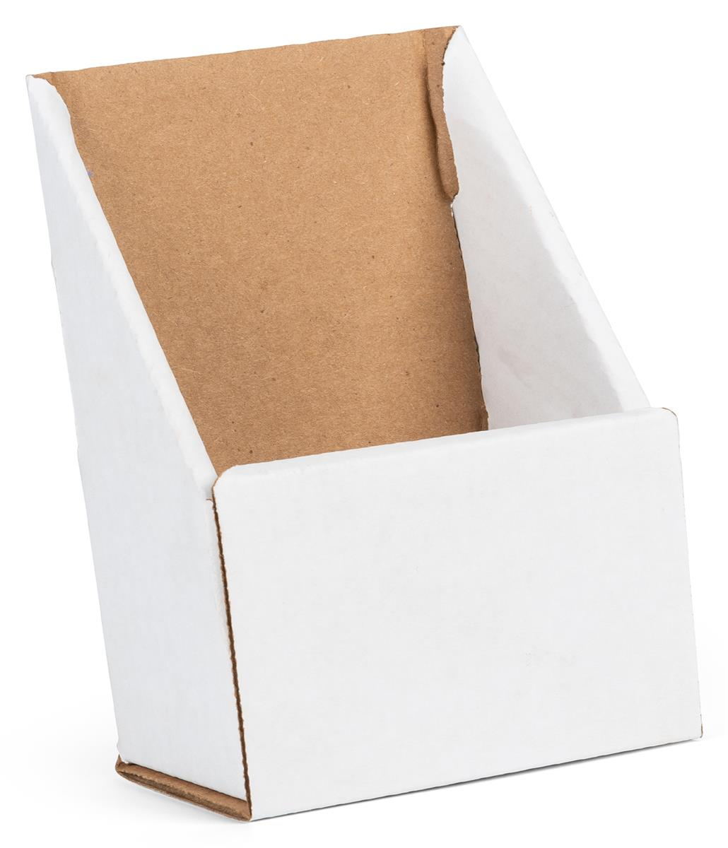 White Cardboard Brochure Holder   Folds   Ships Flat