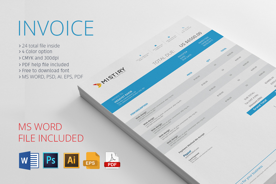 Invoice With MS Word invoice design