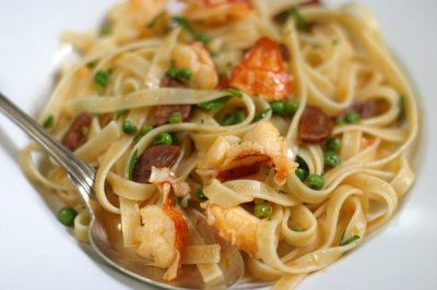 Pasta With Lobster, Chorizo and Peas Recipe - NYT Cooking