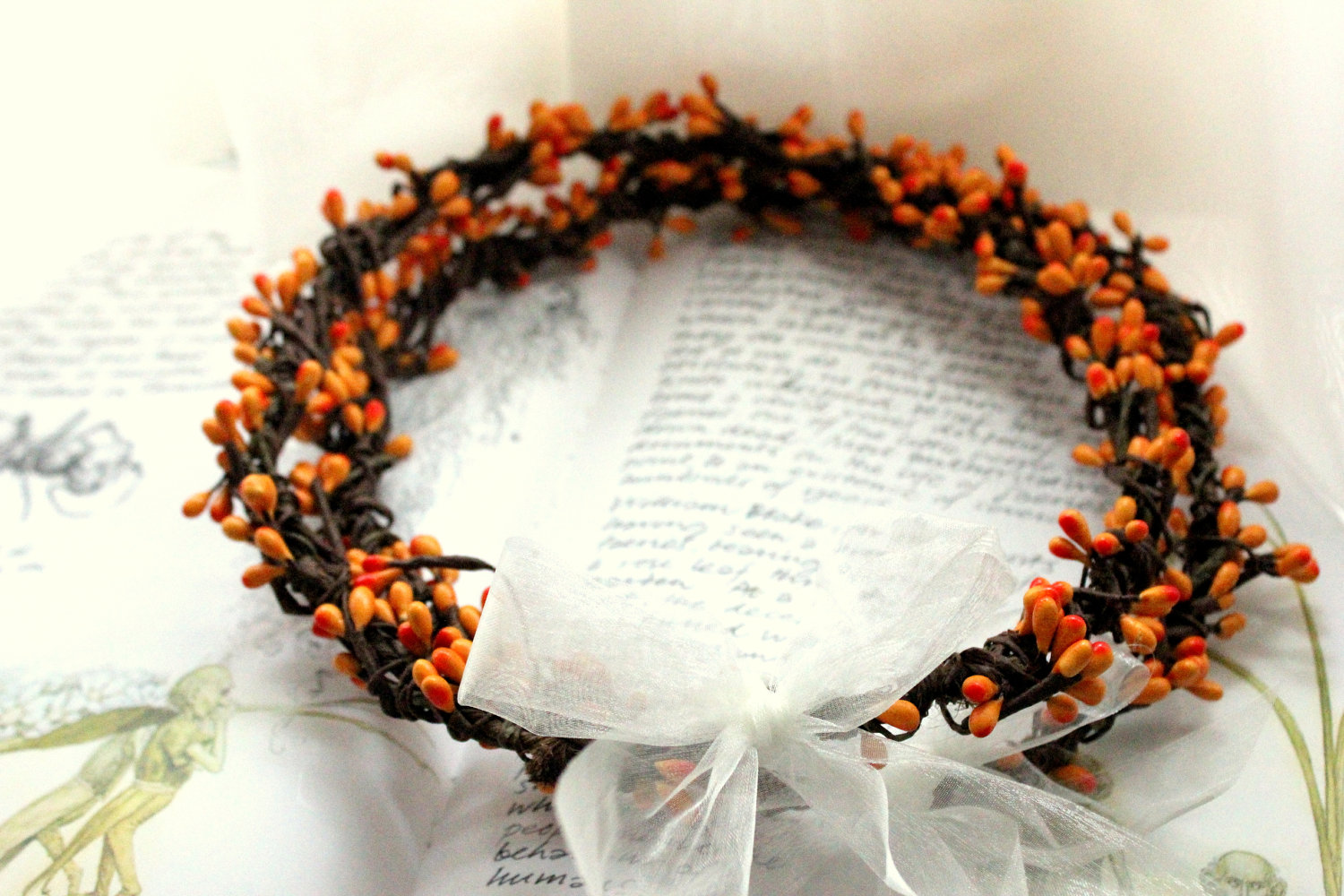 bohemian wedding crowns stefana wedding crowns Bohemian style wedding crowns with orange berries Etsy com