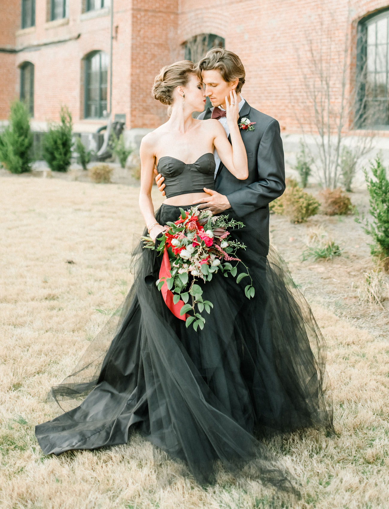 moody autumn wedding inspiration with a black wedding dress cheap black wedding dresses Dark Wedding Inspiration