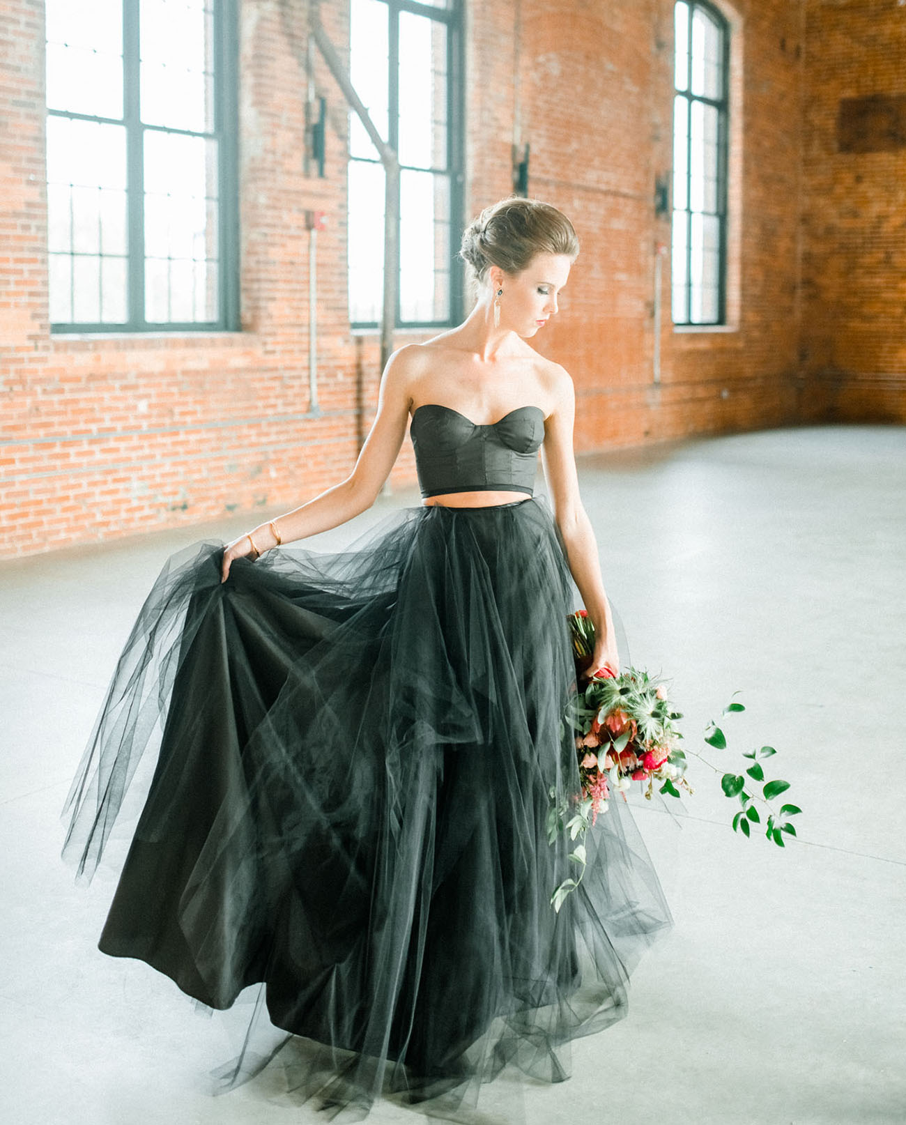 moody autumn wedding inspiration with a black wedding dress black wedding dresses Elizabeth Dye Dress