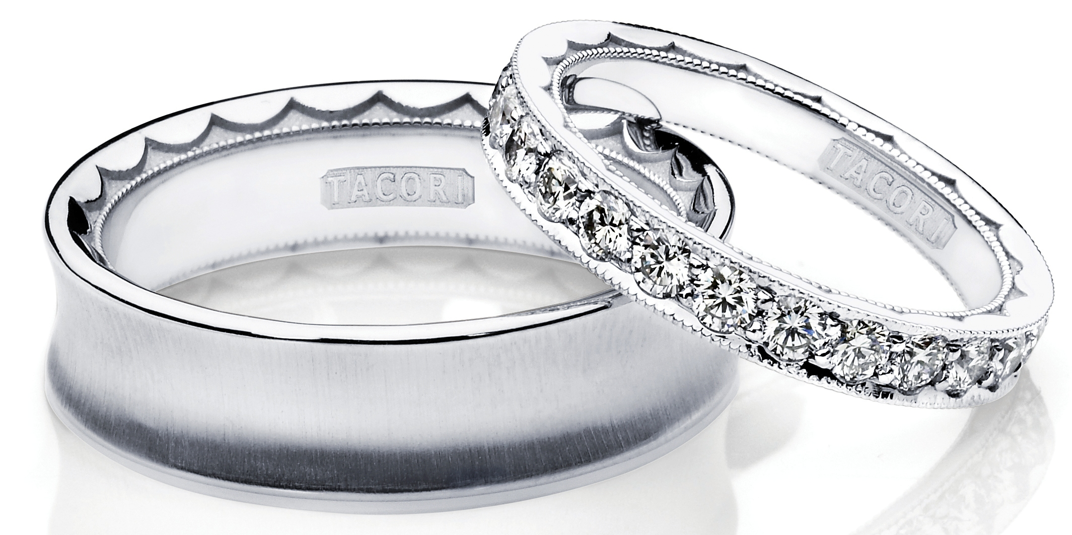 2 platinum wedding bands Tacori His and Hers Bands TACORI designers create platinum and diamond wedding