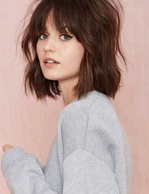 10 Cute Light Dark Brown Bob Haircuts 2019   Hairstyles Weekly Brown Bob with Fringe