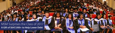 MSM Surprises Class of 2017 with Gift of More Than $647,000 to Help Lower Debt