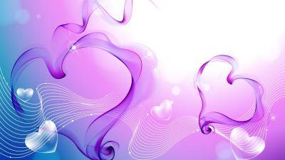 Herunterladen 1920x1080 Full HD Hintergrundbilder herzen muster band rosa lila 1080p