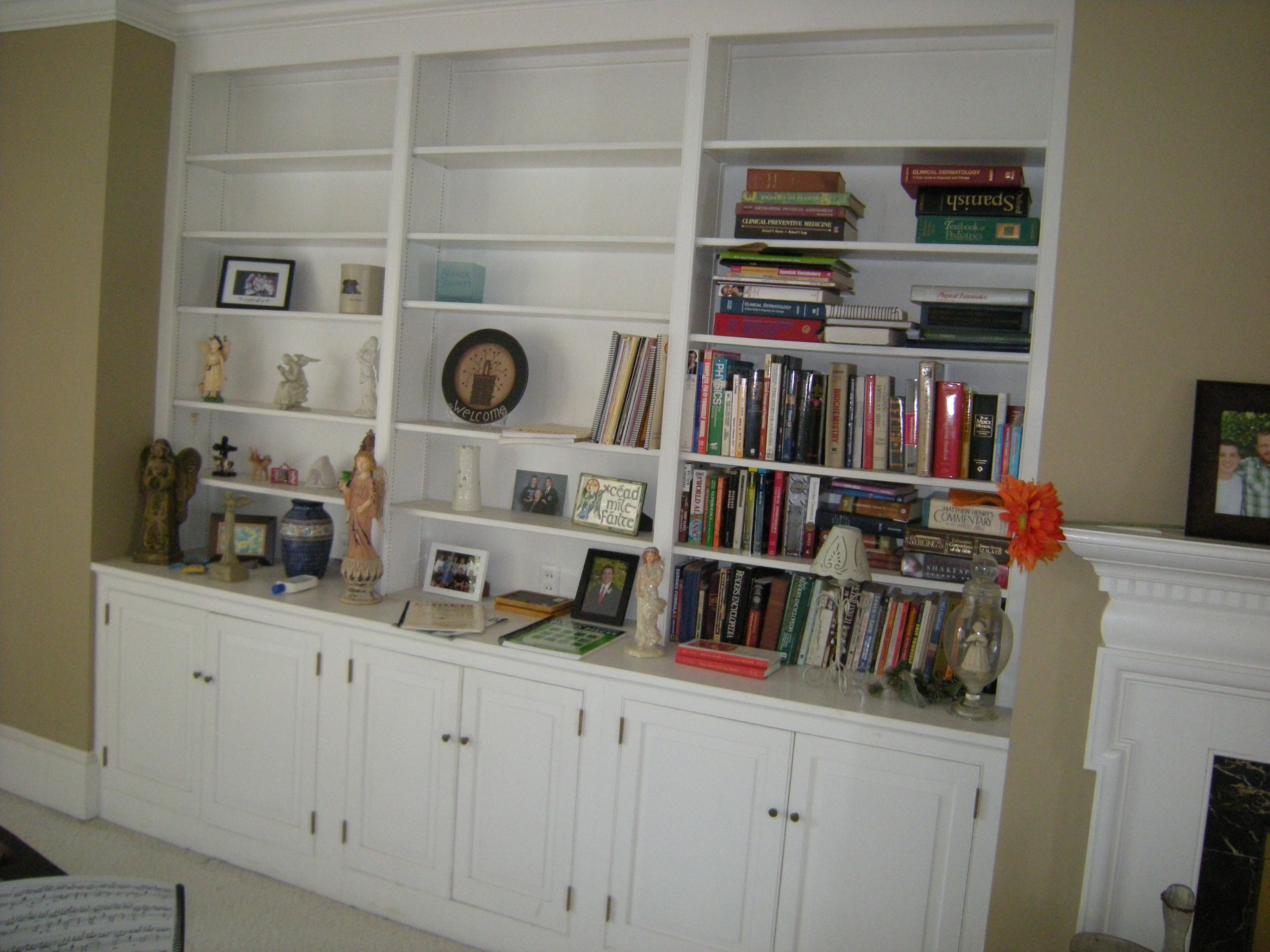 Decorating Bookshelves   HeartWork Organizing Bookcases before