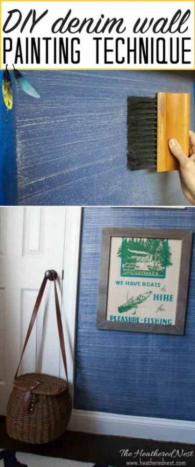 Denim Faux Finish Paint Tutorial | The Heathered Nest