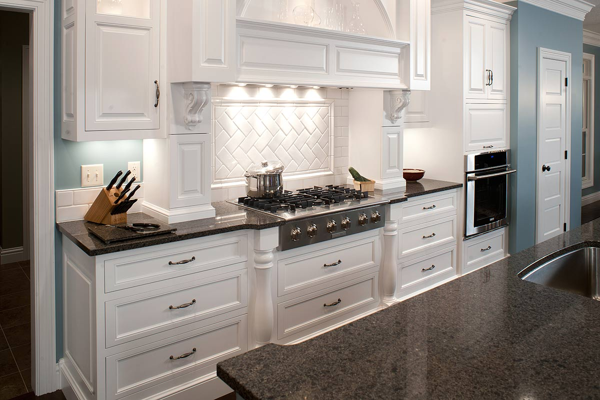 brown ceramic floor grey countertops in white elegant kitchen design kitchen countertop with quartz and black granite blue wall with white laminated wooden doors