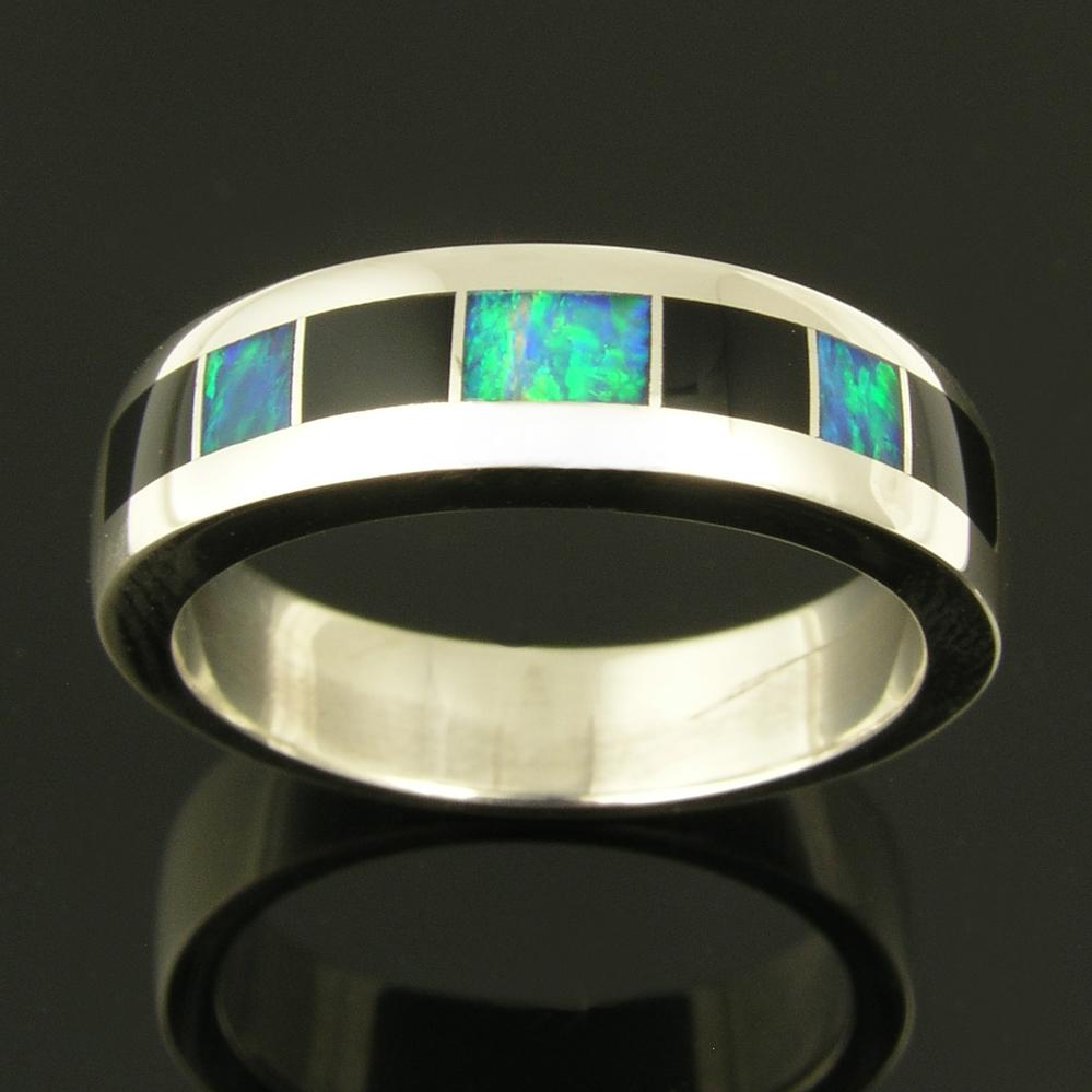 black onyx onyx wedding band Sterling silver ring inlaid with black onyx and Australian opal