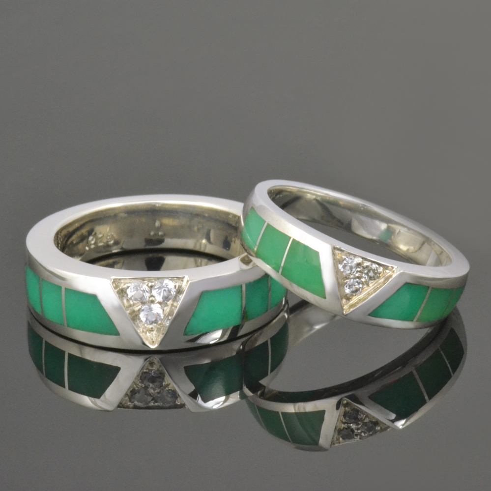 new chrysoprase wedding ring set opal wedding ring sets Chrysoprase wedding ring set with pave set white sapphire in sterling silver