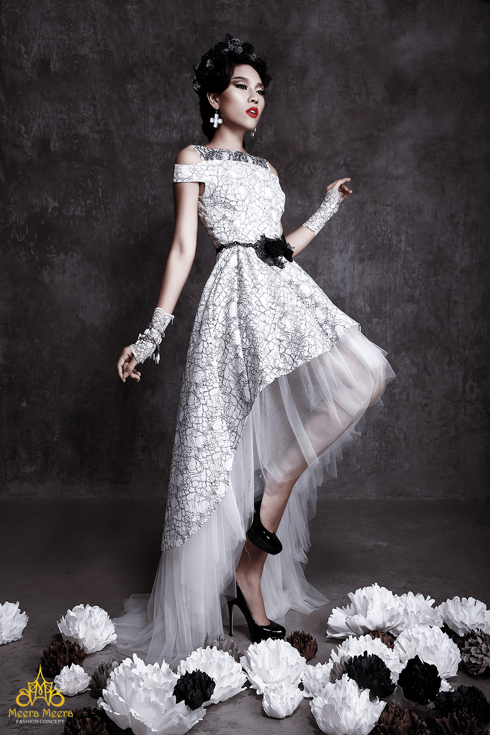 our latest wedding dress collection meera meera fall black lace wedding dress mullet wedding dress in black and white floral lace Image Image