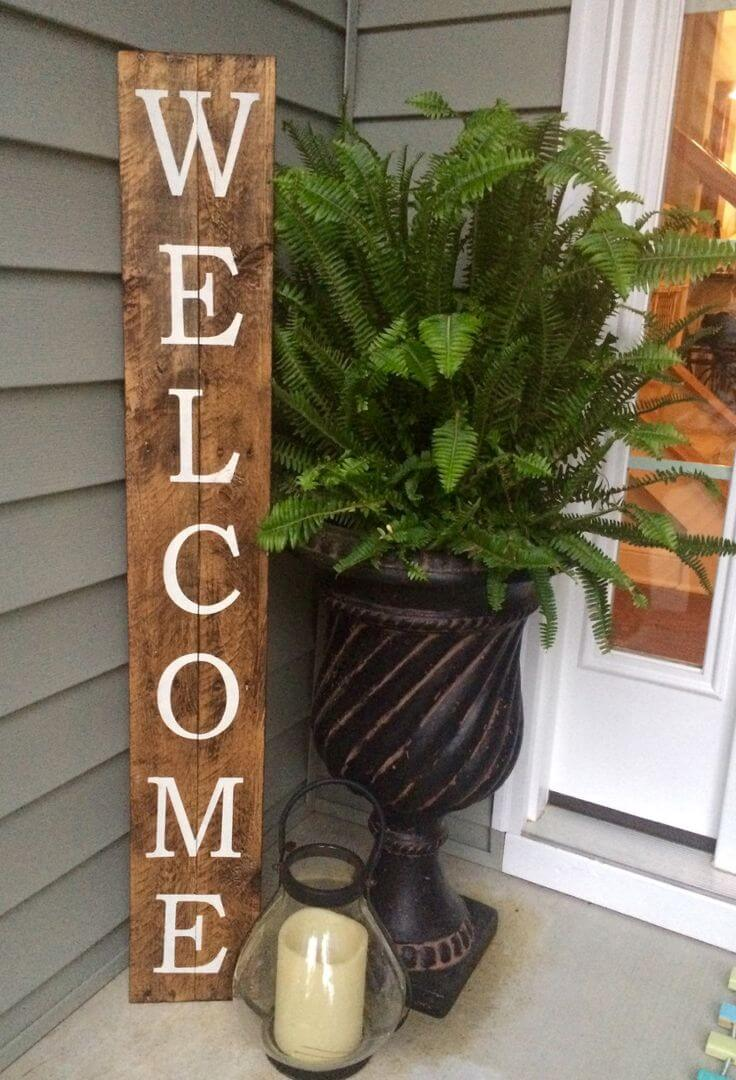 32 Best Spring Porch Decor Ideas and Designs for 2018 3  DIY Rustic Wood Welcome Sign