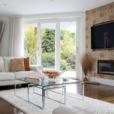 living room wallpaper feature wall 2017 - Grasscloth Wallpaper