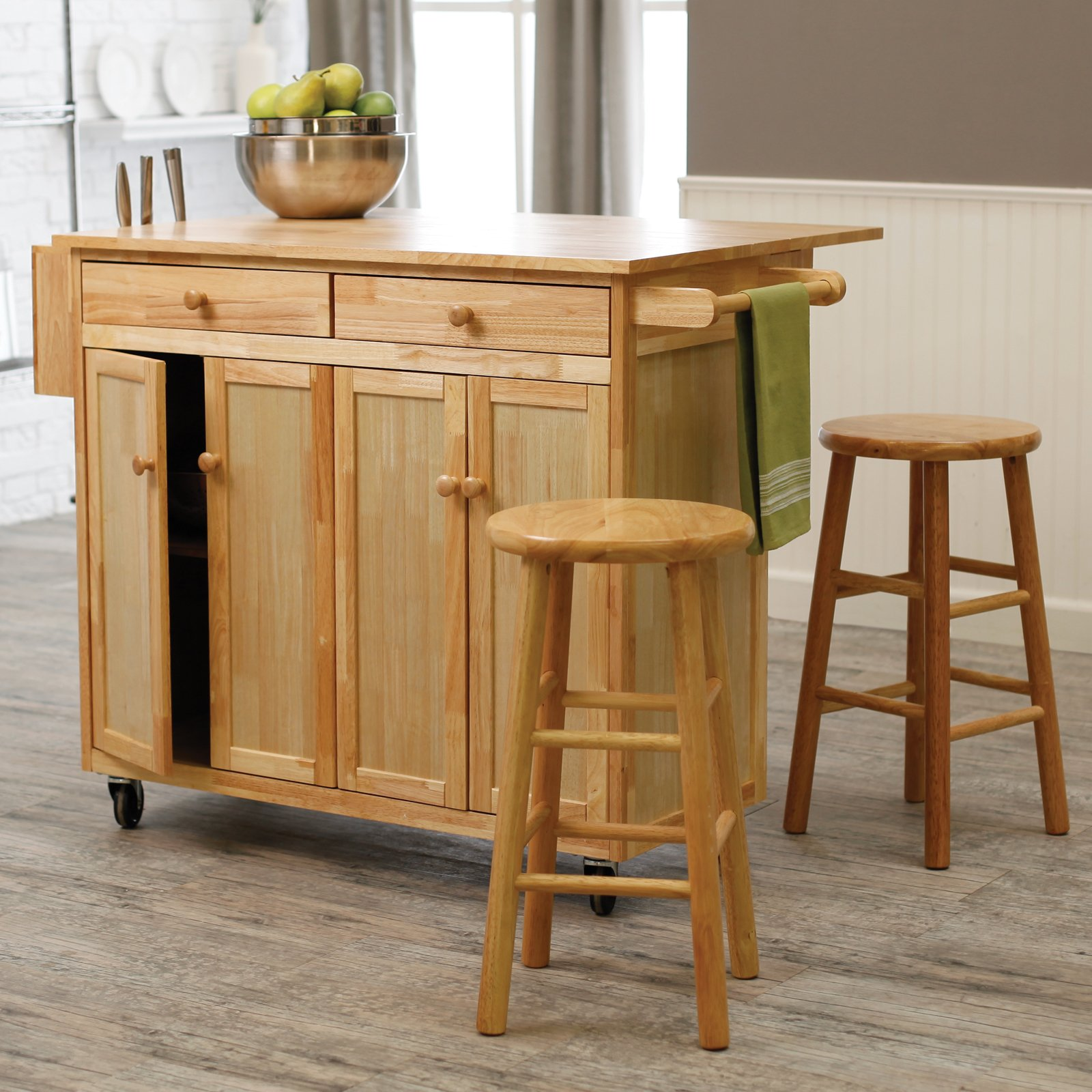 kitchen island on casters kitchen chairs with wheels Wooden Kitchen Island With The Chairs