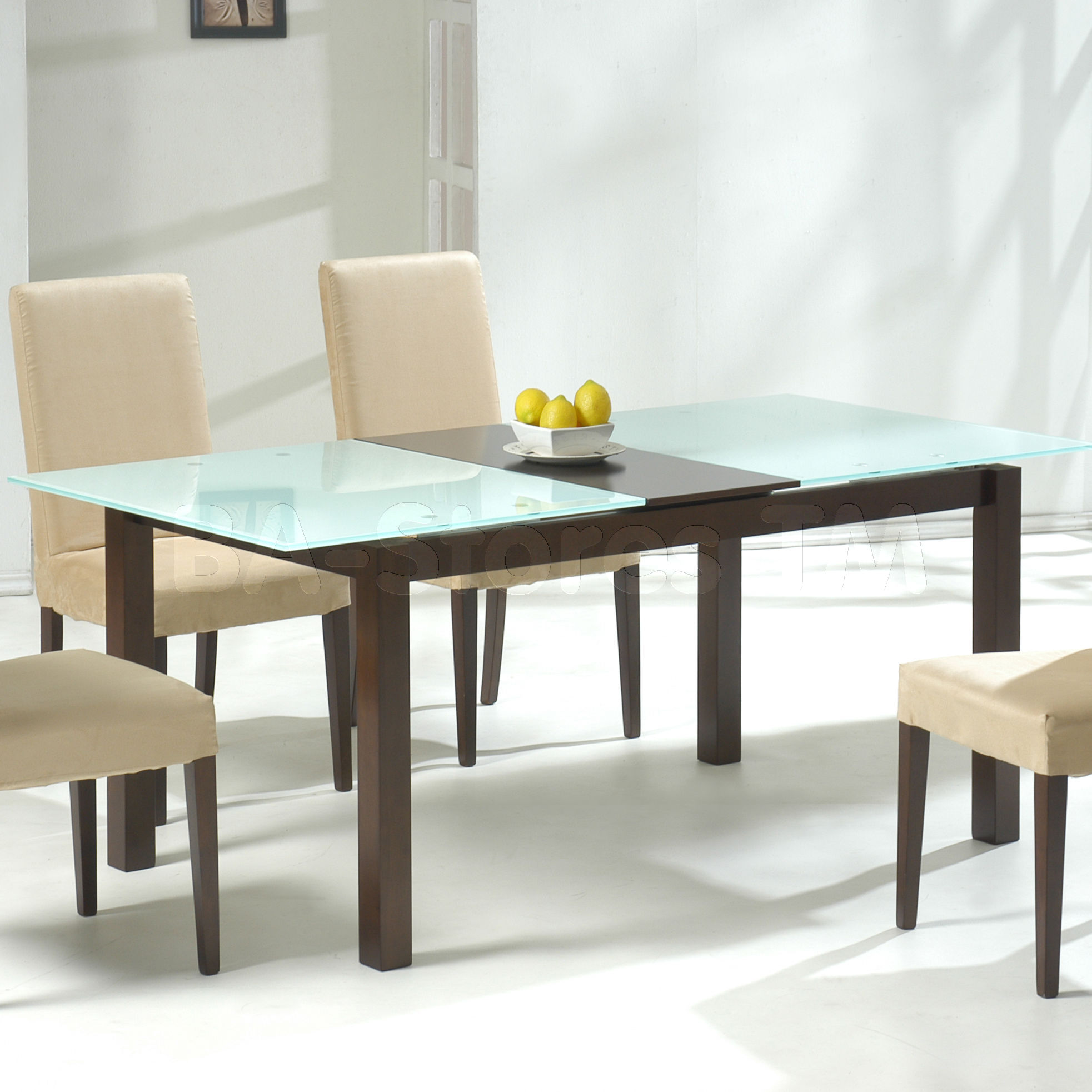 Wooden And Glass On Top Of Small Rectangular Dining Table With White Chairs
