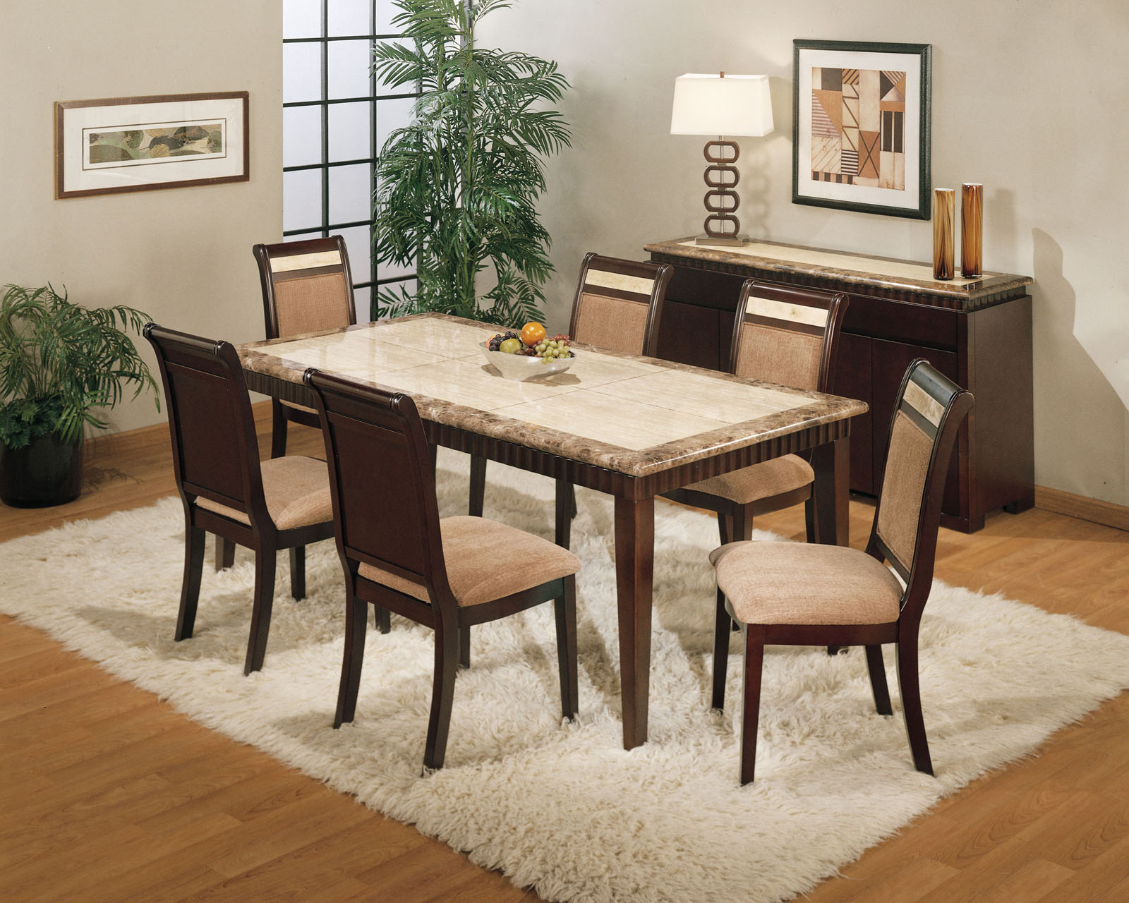 granite dining table set 2 kitchen table rugs Rectangular Granite Dining Table Set With White Fur Rug