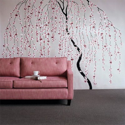 Floral stencil living room | Wallpaper ideas for living rooms | housetohome.co.uk