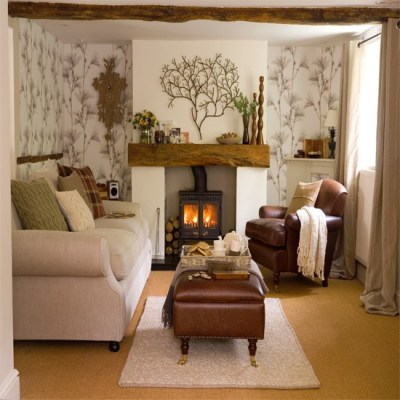 Living room with woodland wallpaper | Living room wallpaper | housetohome.co.uk