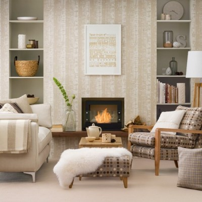 Neutral living room with patterned wallpaper | housetohome.co.uk