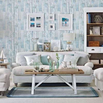 Coastal living room with wood-effect wallpaper | Living room decorating | housetohome.co.uk