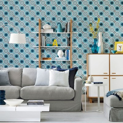 Living room with patterned wallpaper | Living room decorating | housetohome.co.uk