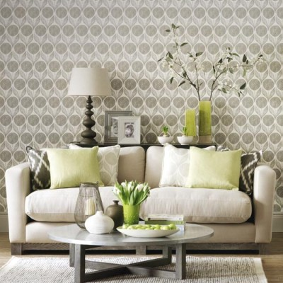 Statement wallpaper in a neutral living room | Simple living room designs | housetohome.co.uk