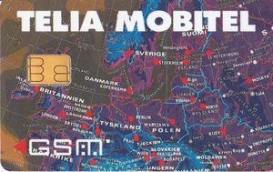 Phonecard  Map 1  Mobile Sweden  Sweden   Telia   GSM   SIM  Col SE     Map 1