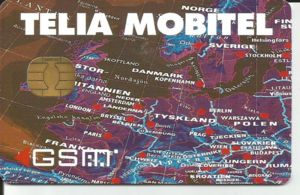 Phonecard  Map 2  Mobile Sweden  Sweden   Telia   GSM   SIM  Col SE     Map 2