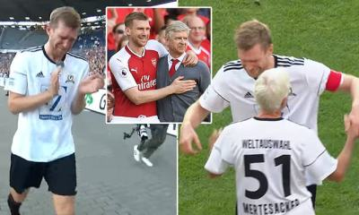 Emotional Per Mertesacker retires in tears as he is replaced by his father during his ...