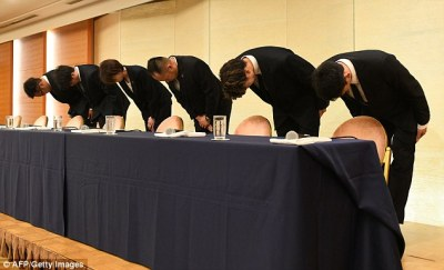 Japanese athletes bow in apology after sleeping with prostitutes | Daily Mail Online
