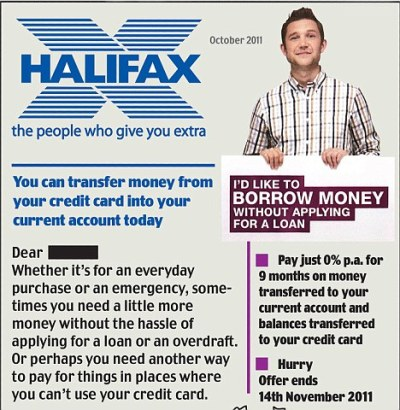 Halifax accused of fuelling debt crisis with £11,000 loans on your credit card | Daily Mail Online
