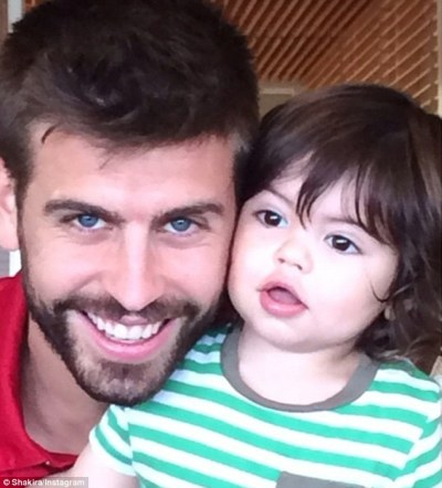 Shakira shares Instagram image of boyfriend Gerard Pique and son Milan | Daily Mail Online