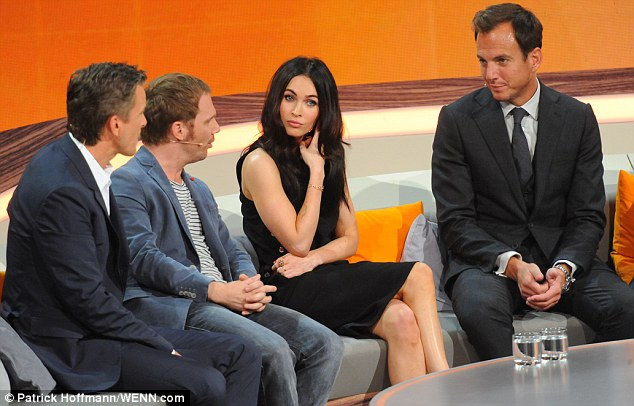 Megan Fox in frock with cutout on German ZDF Live TV show Wetten     Flawless  Megan  who is married to Brian Austin Green  wore her dark locks