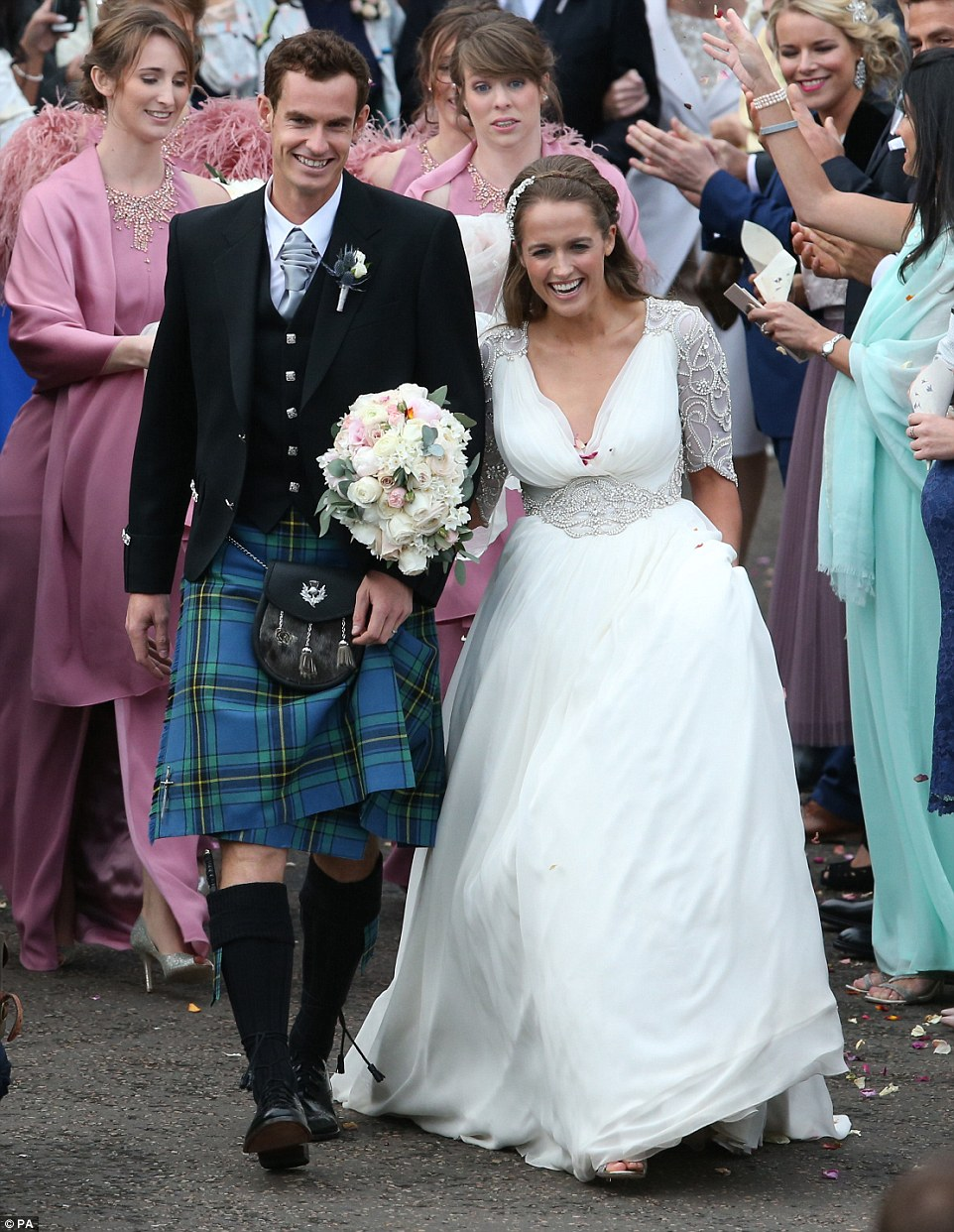 Andy Murray posts hilarious plan wedding day EMOJIS wedding dresses sears Introducing Mr and Mrs Murray The first pictures of Andy Murray and new wife Kim