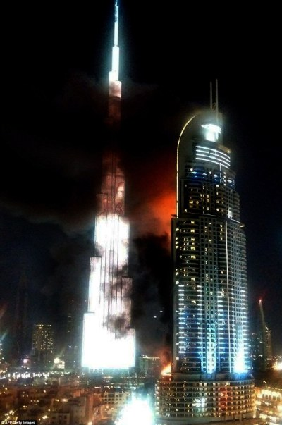 The Address Downtown Dubai hotel fire fails to halt New Years Eve celebrations | Daily Mail Online