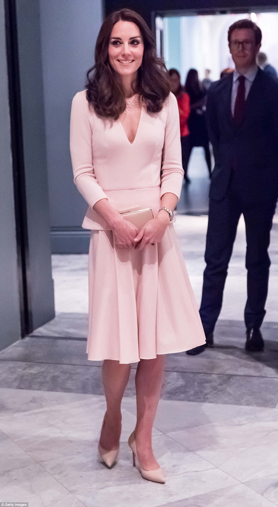 Kate Middleton picks head to toe pastels as she attends Vogue 100     Kate Middleton was concluding a busy day of engagements with a visit to the  National Portrait