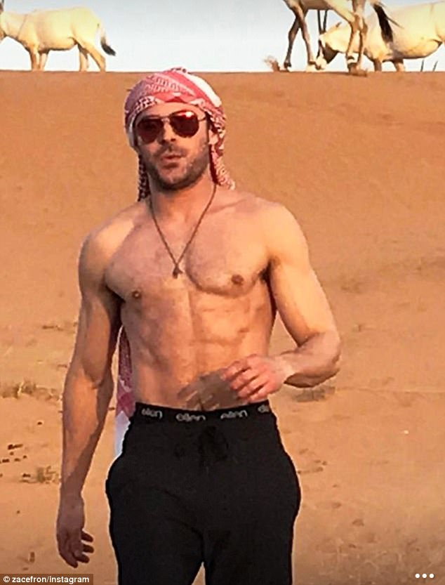 Zac Efron shows off ripped abs during camel ride excursion   Daily     On Monday  Zac Efron  29  displayed his abs during