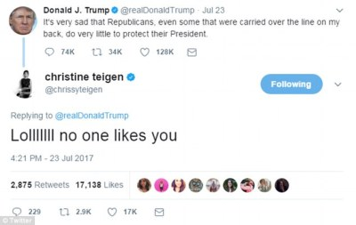 President Trump blocks Chrissy Teigen on Twitter | Daily Mail Online